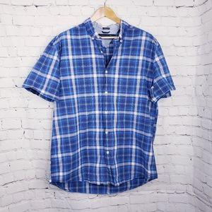 Tommy Hilfiger Blue Paid Button Down Shirt Mens